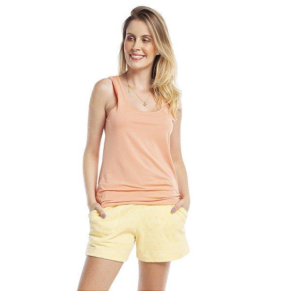 Short Doll com Regata e Bolso Laranja e Amarelo