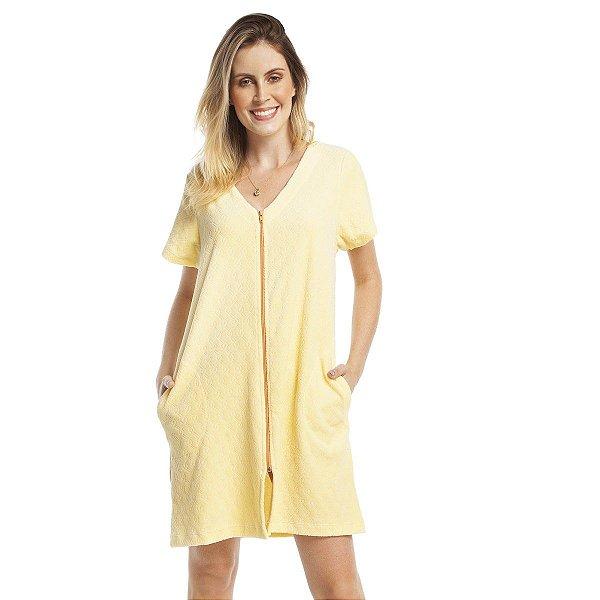 Robe Atoalhado Amarelo com Bolso e Zíper Laranja
