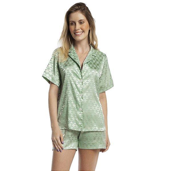 Pijama Feminino Curto Aberto Satin Jacquard Verde Cerâmica