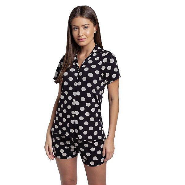 Pijama Feminino Curto Aberto com Gola Esporte Poá