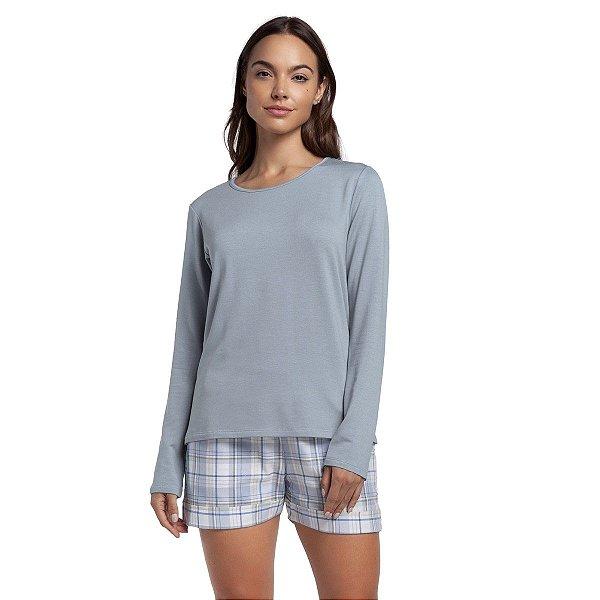 Pijama Curto com Manga Longa Xadrez Blue