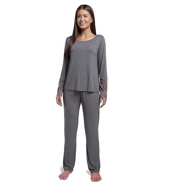 Pijama Feminino de Inverno Mescla Escuro e Renda Rosê