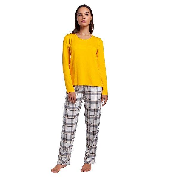 Pijama Feminino de Inverno Xadrez Yellow