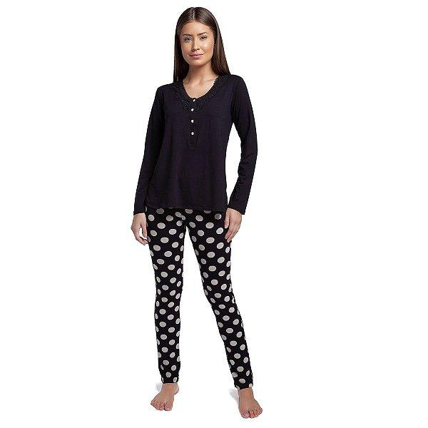 Pijama Feminino de Inverno com Polo Preto e Poá