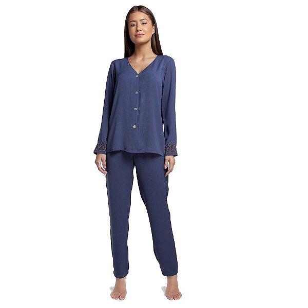 Pijama Feminino Aberto de Inverno Azul Egeu com Renda