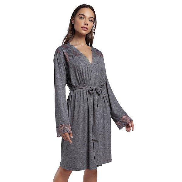 Robe Feminino Curto Mescla Escuro com Renda Rosê