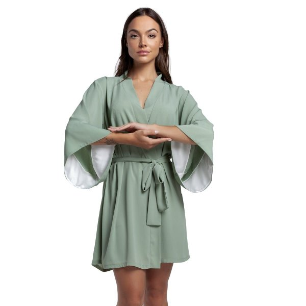 Robe Curto Verde Stone com Cetim Off White