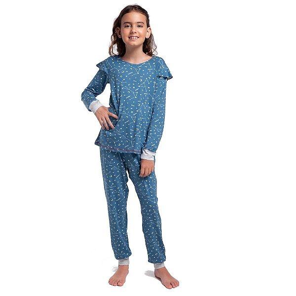 Pijama Infantil Feminino de Inverno Azul Constelação