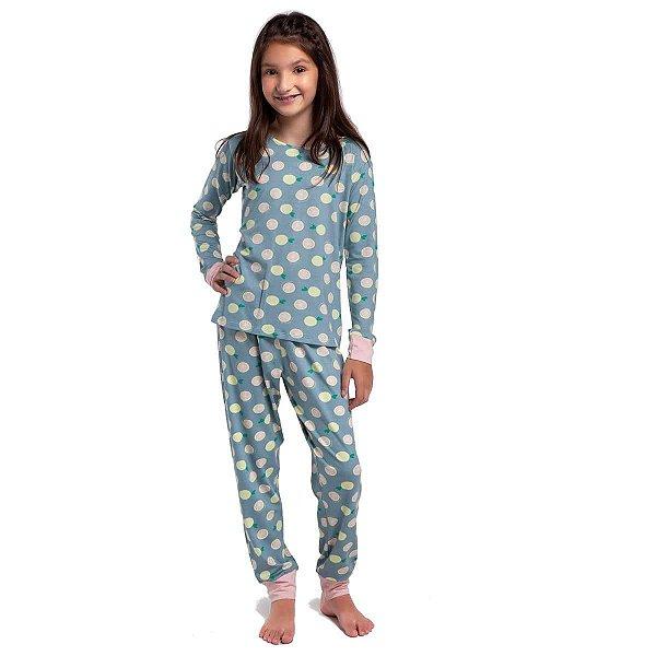 Pijama Infantil Feminino de Inverno Verde Lemon com Punho