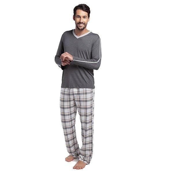 Pijama Masculino de Inverno Mescla e Xadrez Yellow