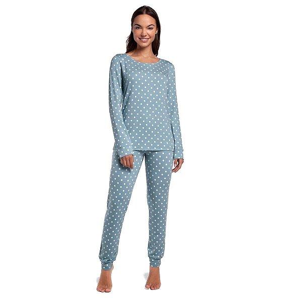 Pijama Feminino de Inverno com Punho Poá Blue Moon