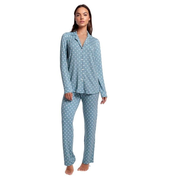 Pijama Feminino de Inverno com Gola Esporte Poá Blue Moon