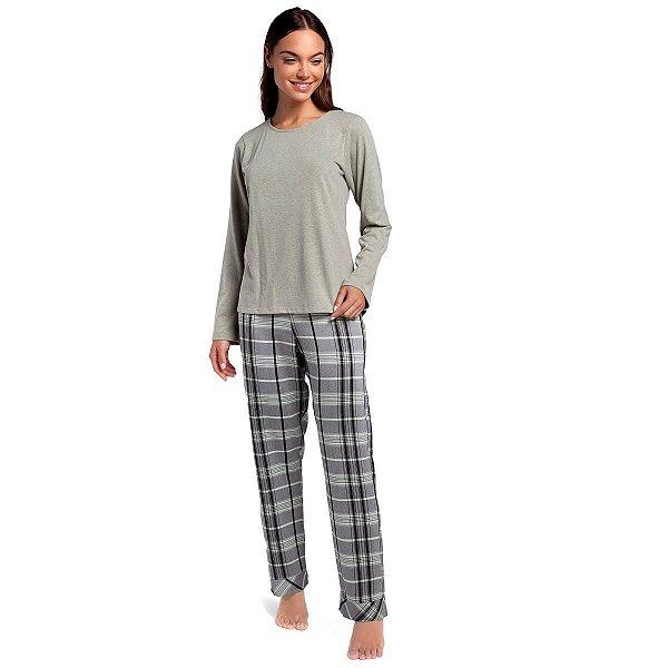 Pijama Feminino de Inverno Green Chess