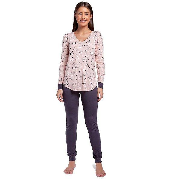 Pijama Feminino de Inverno Stars Rosê com Punho