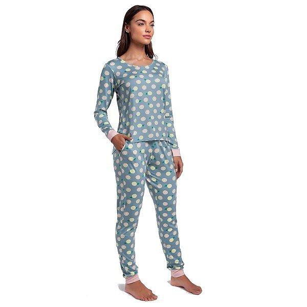 Pijama Feminino de Inverno Verde Lemon com Bolso e Punho