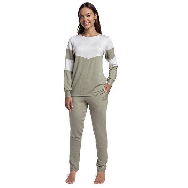 Pijama Feminino de Inverno com Bolso Verde Stone