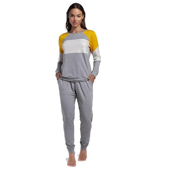 Pijama Feminino de Inverno Mescla e Amarelo com Bolso
