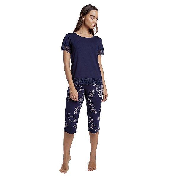 Pijama Feminino Capri Azul Paisley com Renda