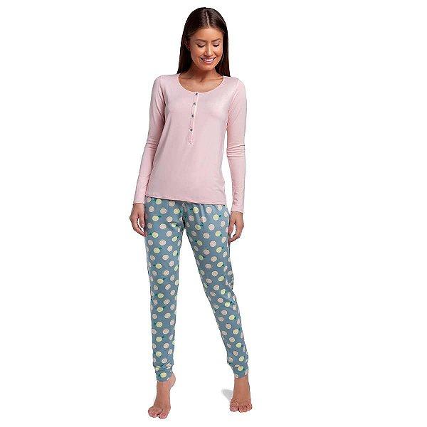 Pijama Feminino de Inverno Polo Lemon com Blusa Rosê