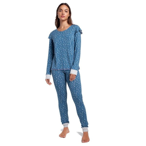 Pijama Feminino de Inverno Azul Constelação com Punho