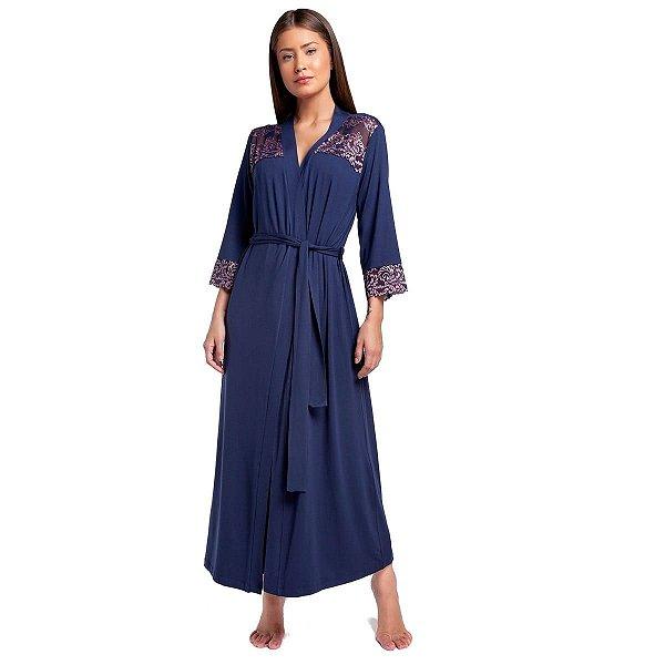 Robe Feminino Longo Azul Marinho com Renda Rosê