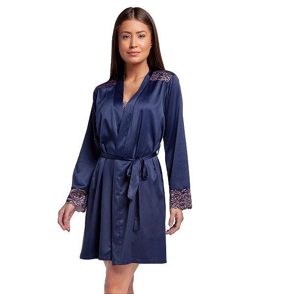 Robe Feminino Curto com Manga Longa e Renda Rosê