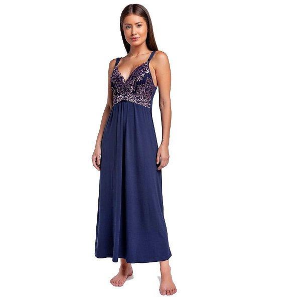 Camisola Longa Gestante Azul Marinho com Renda Rosê