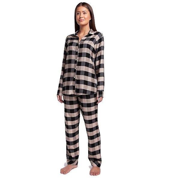 Pijama Feminino de Inverno Aberto Xadrez Almond