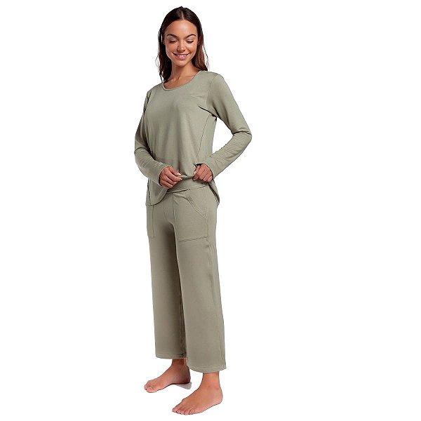 Pijama Feminino de Inverno Stone Green com Bolso