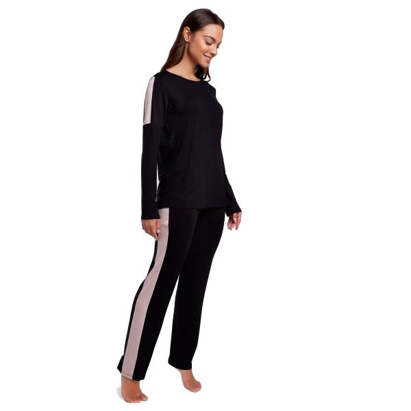 Pijama Feminino de Inverno Preto com Cetim Rosê