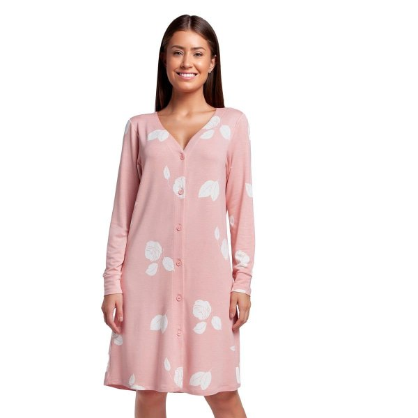 Camisão Feminino Aberto Rosê Floral