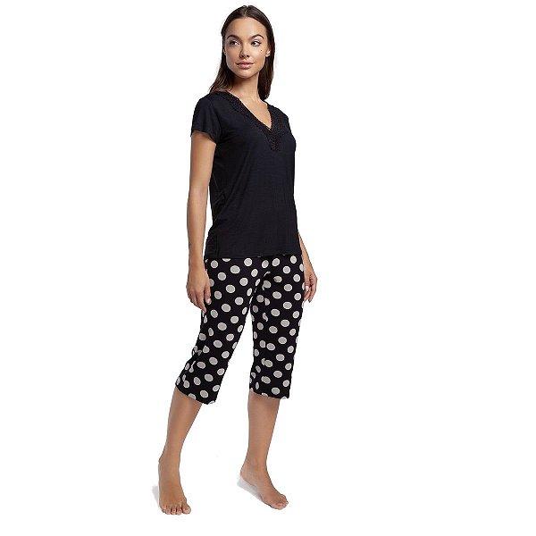 Pijama Feminino Capri Preto e Poá