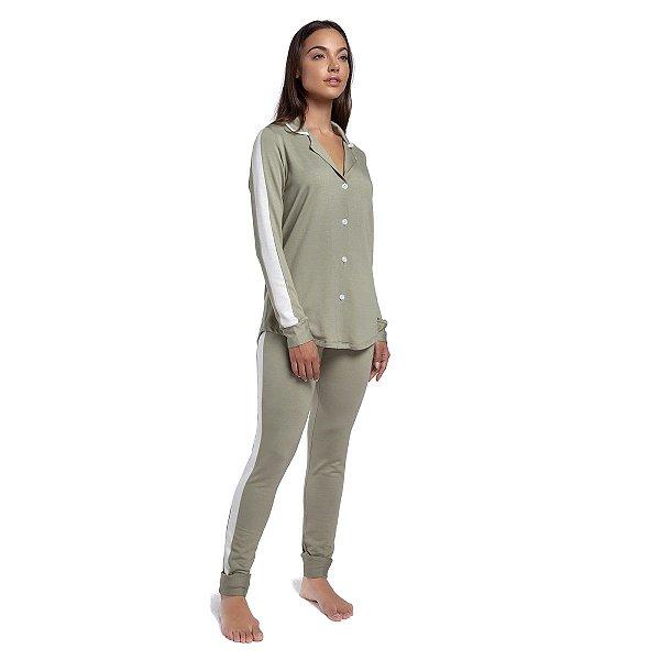 Pijama Feminino de Inverno com Gola Esporte Verde Stone