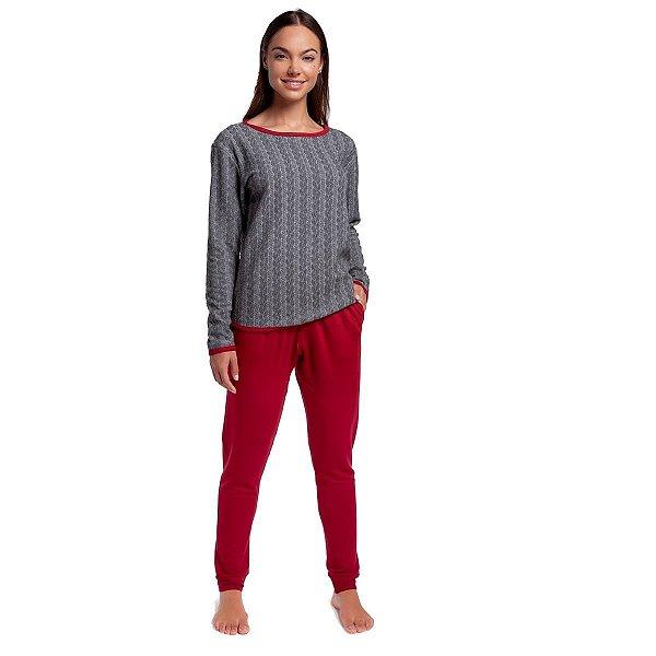 Pijama Feminino de Inverno Mescla e Wine com Bolso