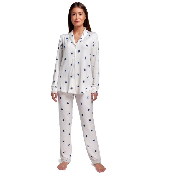 Pijama Feminino de Inverno Aberto Stars Blue