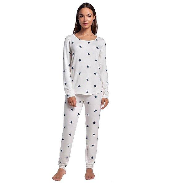 Pijama Feminino de Inverno Stars Blue