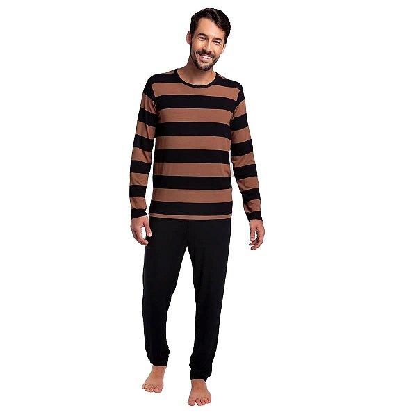 Pijama Masculino de Inverno Listrado Amêndoa