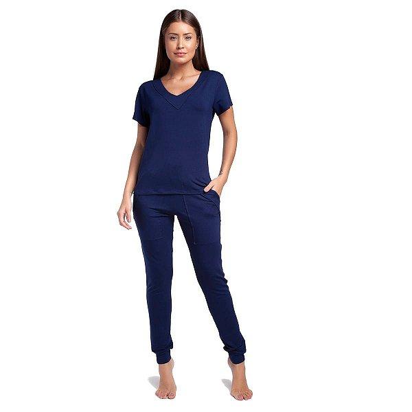 Pijama Feminino Azul Marinho com Manga Curta e Bolso