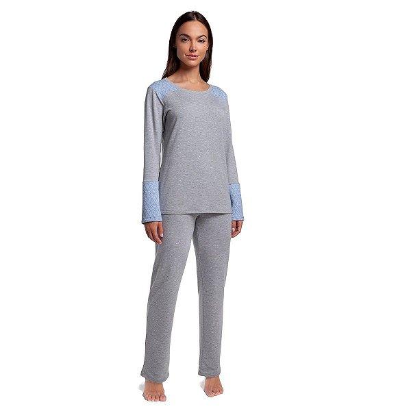 Pijama Feminino de Inverno Mescla com Azul Jeans