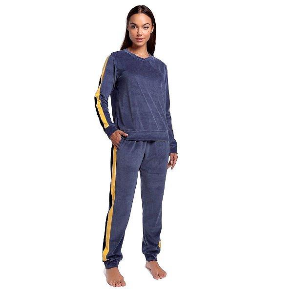 Pijama Feminino de Inverno Plush Azul Jeans com Bolso e Punho