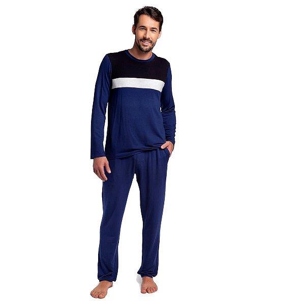 Pijama Masculino de Inverno Azul Marinho com Bolso