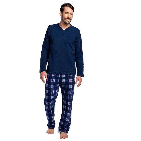 Pijama Masculino de Inverno Soft Xadrez Azul