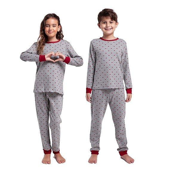 Pijama de Inverno Infantil Unissex Bear Wine com Punho