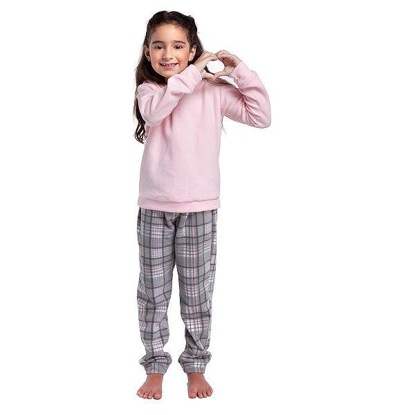 Pijama Infantil Feminino de Inverno Soft Xadrez Rosa