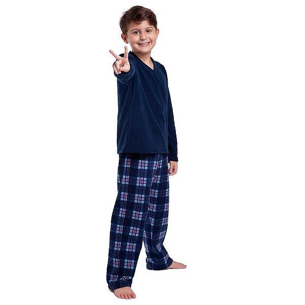 Pijama Infantil Masculino de Inverno Soft Xadrez Azul