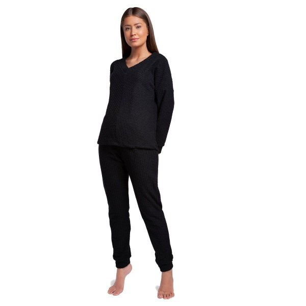 Pijama Feminino de Inverno Soft Preto com Punho