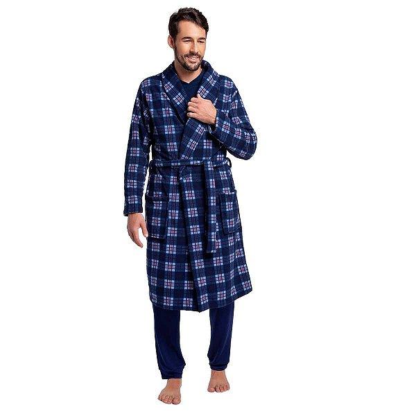 Robe Masculino Soft Xadrez Azul com Bolso