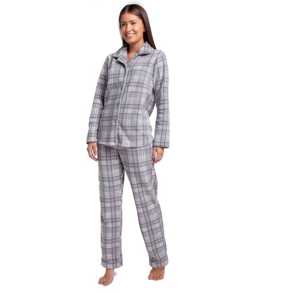 Pijama Feminino de Inverno Soft Xadrez Rosa