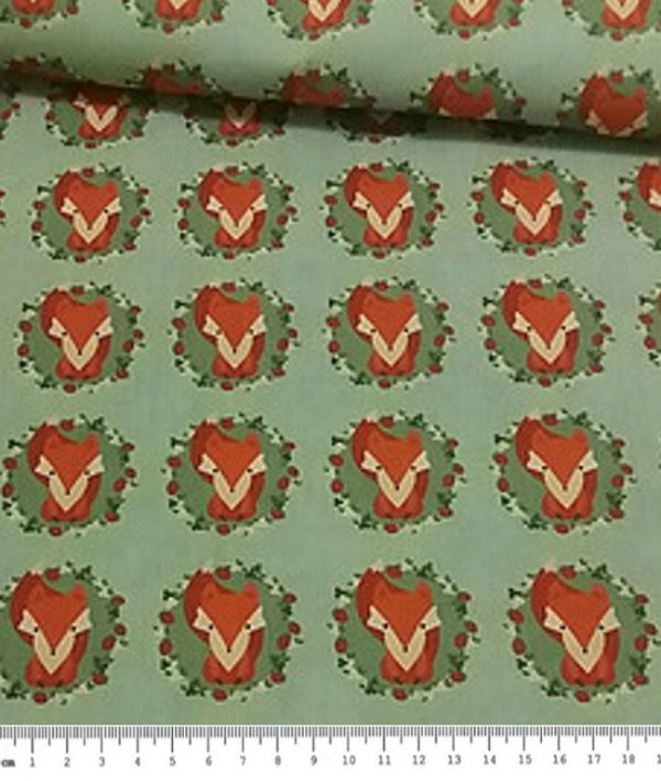 Tecido Estampa Digital Raposa - Preço de 50 cm x 70 cm