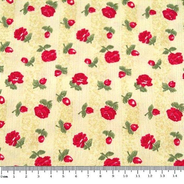 Tecido Tricoline  Floral Rosas Vermelhas (Fundo Amarelo) - 50 cm x 146 cm
